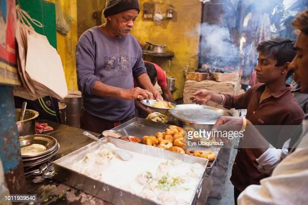 India Uttar Pradesh Varanasi A food hotel serving idlis dahl vada in the old city