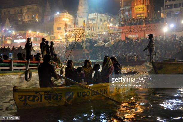 India, Uttar Pradesh, Varanasi, Dasashwamedha ghat during Dev Deepawali festival