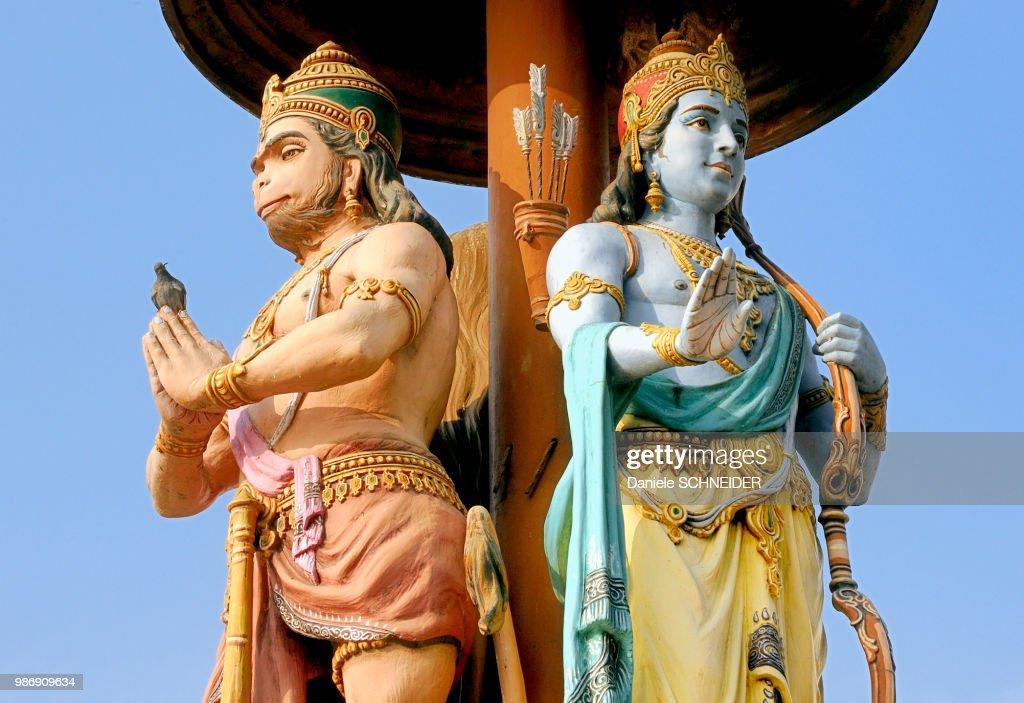 India, Uttarakhand, Rishikesh, statues of the two Hindu gods Rama and Hanuman in Rishikesh, Uttarakhand, India : Stock Photo