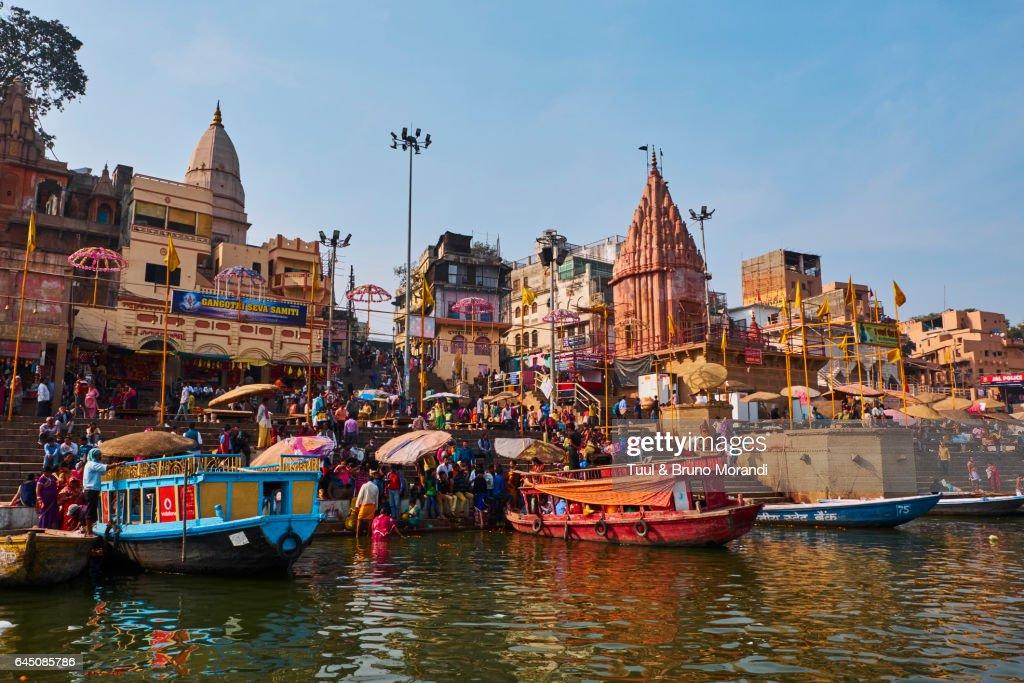 India, Varanasi (Benares), Ghats on the River Ganges : Stock Photo