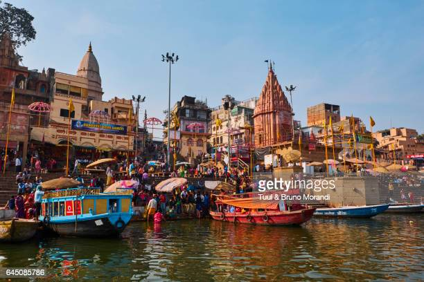 India, Varanasi (Benares), Ghats on the River Ganges