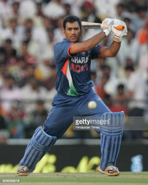 India vs Sri Lanka - India batsman M S Dhoni bats during the second ODI between India and Sri Lanka at VCA stadium.