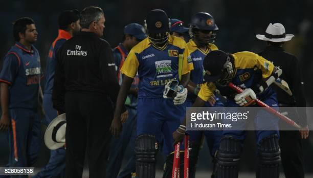 India vs Sri Lanka - Sri Lanka batsmen Mendis, Anjelo Mathew and Kapugedara celebrates their win over India in the second ODI between India and Sri...