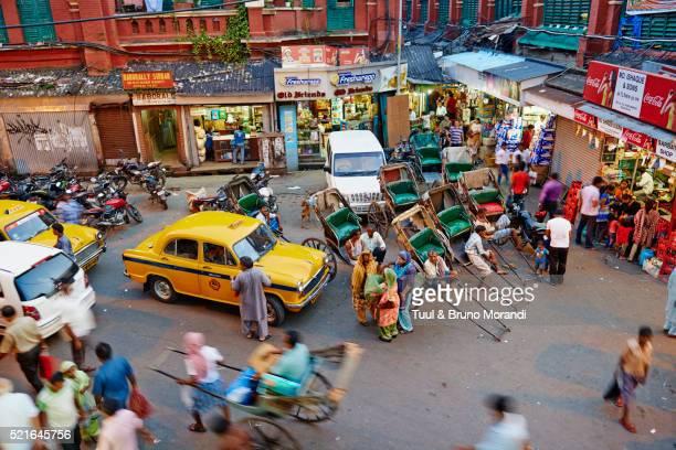 India, West Bengal, Kolkata, Calcutta, rickshaw on the street