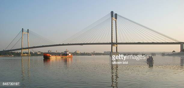 India West Bengal Kolkata Second Hooghly Bridge A modern cablestayed bridge over Hooghly river connecting Calcutta and Howrah 2010