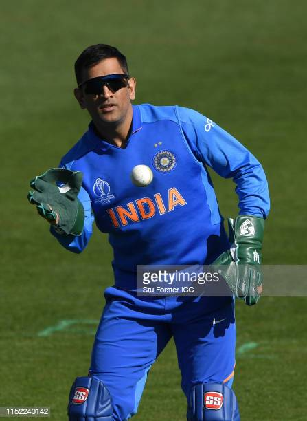 India wicketkeeper MS Dhoni in action during the ICC Cricket World Cup 2019 Warm Up match between Bangladesh and India at Cardiff Wales Stadium on...