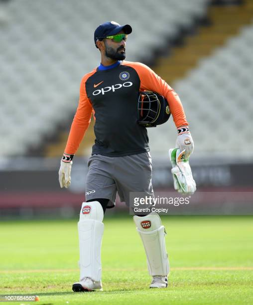 India wicketkeeper Dinesh Karthik during a nets session at Edgbaston on July 30 2018 in Birmingham England