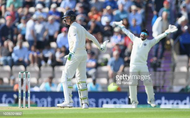 India wicketkeeper Pant appeals as England batsman Keaton Jennings is given out LBW for 0 during day one of the 4th Specsavers Test Match between...
