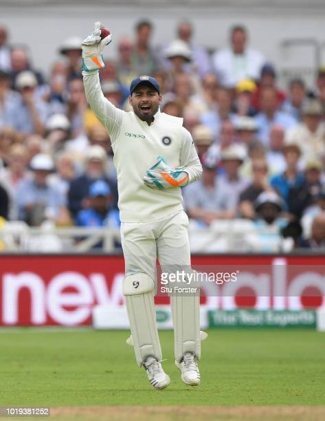 India wicketkeeper Rishabh Pant celebrates after catching out England batsman Chris Woakes during day two of the 3rd Specsavers Test Match between...