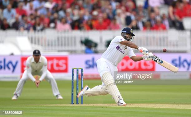 India wicketkeeper Rishabh Pant hits James Anderson to the boundary on Ruth Strauss Foundation Day during day two of the Second Test Match between...