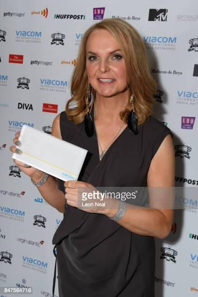 India Willoughby poses with her award for 'Media Moment of the Year' at the Diversity in Media Awards on September 15 2017 in London England