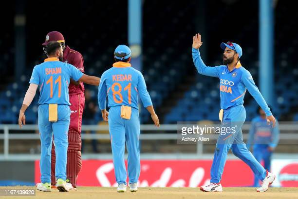 India wins by 59 runs in the second MyTeam11 ODI between the West Indies and India at the Queen's Park Oval on August 11, 2019 in Port of Spain,...