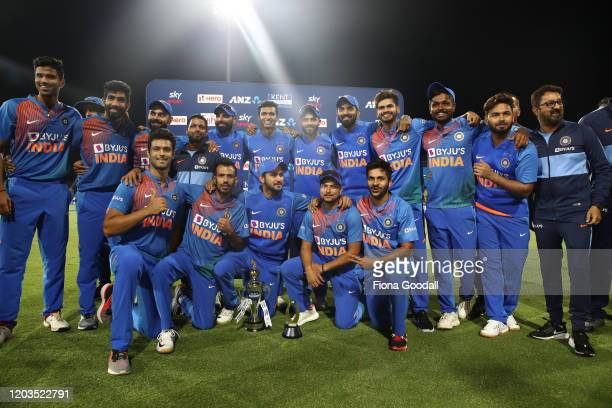 India wins with T20 series during game five of the Twenty20 series between New Zealand and India at Bay Oval on February 02, 2020 in Mount Maunganui,...
