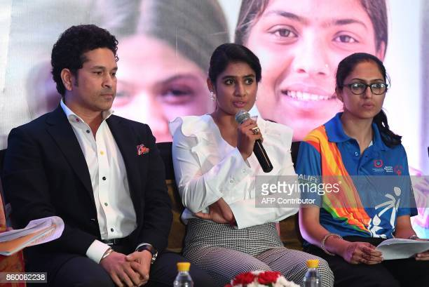 India women's cricket team captain Mithali Raj speaks as former cricketer and UNICEF Goodwill Ambassador Sachin Tendulkar and Special Olympics...