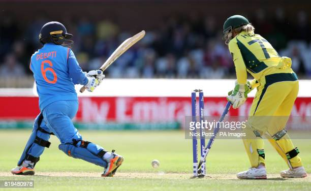India Women's Deepti Sharma is bowled by Australia Women's Elyse Villani during the ICC Women's World Cup Semi Final match at The County Ground Derby