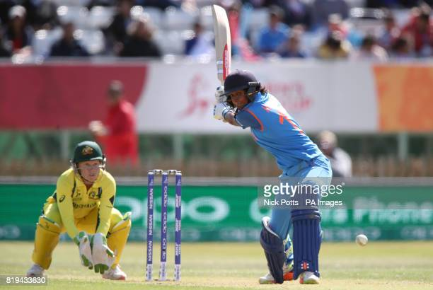 India Women's Harmanpreet Kaur bats during the ICC Women's World Cup Semi Final match at The County Ground Derby