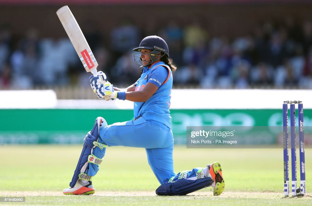 India Women's Harmanpreet Kaur bats during the ICC Women's World Cup Semi Final match at The County Ground, Derby.