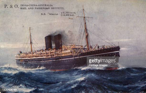 India-China-Australia Mail and Passenger Services, S.S. Maloja, 1932. Ocean liner carrying passengers and mail between England, Australia, China and...