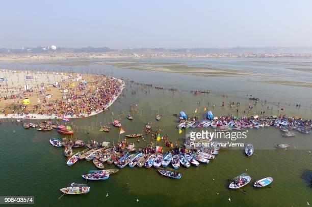 india-magh mela festival - prayagraj stock pictures, royalty-free photos & images