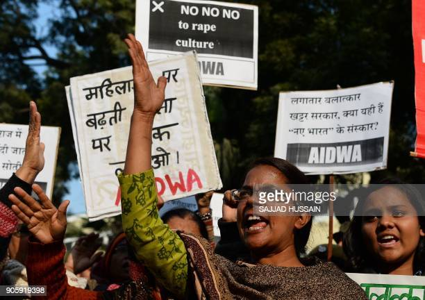 Indian activists shout slogans during a protest in New Delhi on January 17 against the gangrape of two schoolgirls in the neighbouring state Haryana...