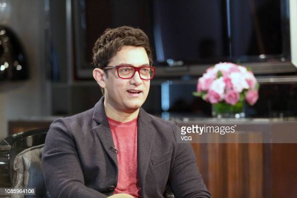 Indian actor Aamir Khan attends a celebrity talk show by host Cao Kefan on December 23 2018 in Shanghai China