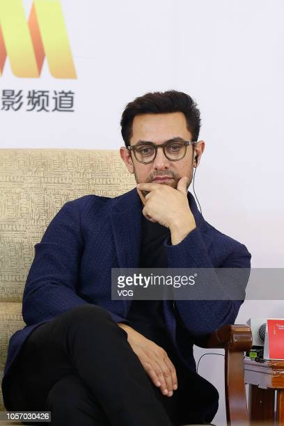 Indian actor Aamir Khan attends the 5th Annual Conference of Taiku World Cultural Forum on October 19, 2018 in Beijing, China.