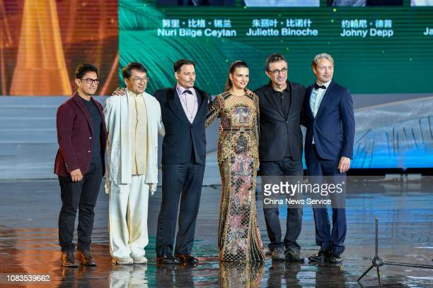 Indian actor Aamir Khan Chinese actor Jackie Chan American actor Johnny Depp French actress Juliette Binoche and Danish actor Mads Mikkelsen are seen...