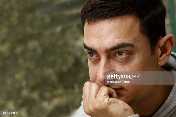 Indian actor Aamir Khan during an interaction with Hindustan Times' editorial team at HT House on November 27 2012 in New Delhi India His upcoming...