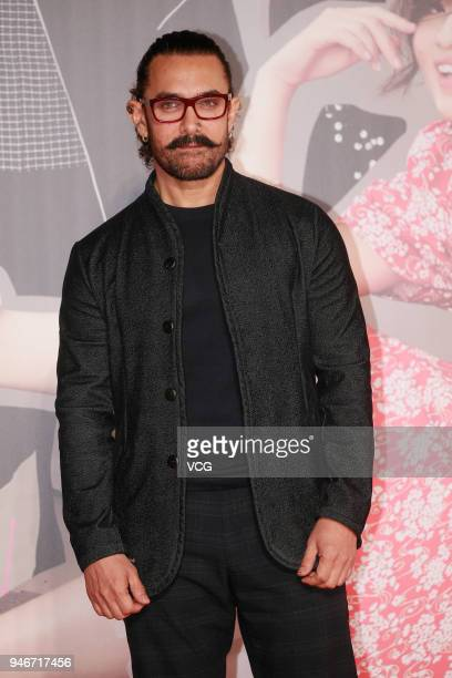 Indian actor Aamir Khan poses on red carpet of the 37th Hong Kong Film Awards ceremony at Hong Kong Cultural Centre on April 15 2018 in Hong Kong...