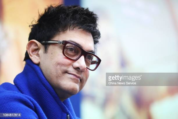 Indian actor Aamir Khan promotes film 'Thugs of Hindostan' at the Nanguang College of the Communication University of China on December 19, 2018 in...