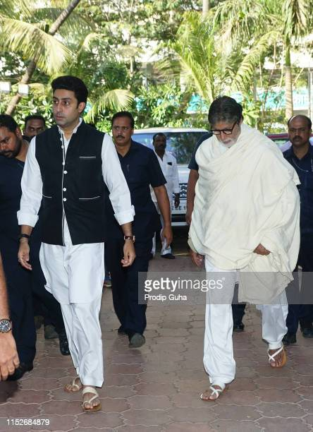 Indian actor Abhishake Bachchan and his Father Amitabh Bachchan attends a prayer meet for the late Bollywood stunt choreographer and film director...