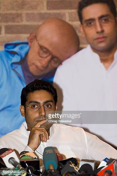 Indian actor Abhishek Bachchan adresses the media at the Paa press conference held at Taj Land's End on December 3 2009 in Mumbai India