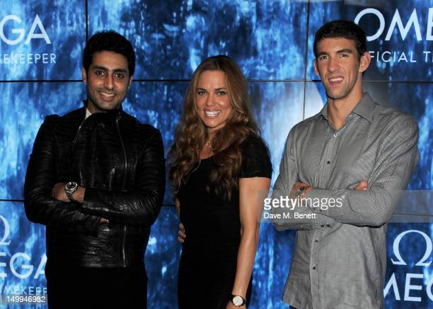 Indian actor Abhishek Bachchan and US Olympic Swimmers Natalie Coughlin and Michael Phelps attend 'Spotlight On Swimming' at OMEGA House OMEGA's...