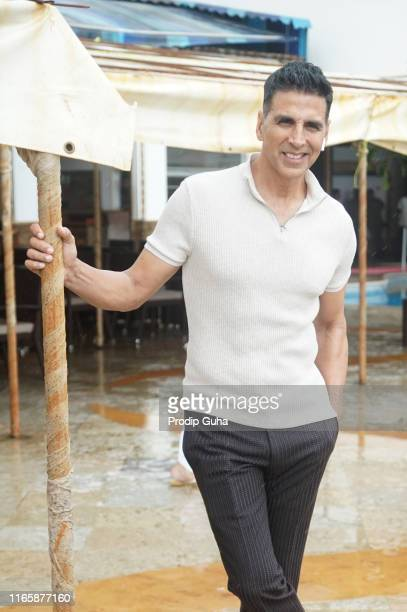 Indian actor Akshay Kumar attends the media interview for movie promotion Mission Mangal on August 3 2019 in Mumbai India