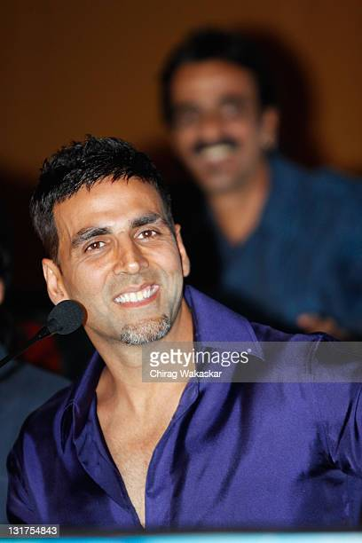 Indian actor Akshay Kumar attends the press conference for Bollywood movie Blue held at Hotel Renaissance on March 6 2009 in Bombay India