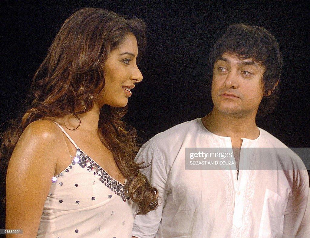 Indian actor Amir Khan watches music channel MTV Video Jockey Sophia