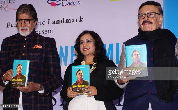 Indian actor Amitabh Bachchan and Parikshat Sahni attend the nonconformist Memory of Balraj Sahni legendary actor Balraj Sahni's first ever biography...