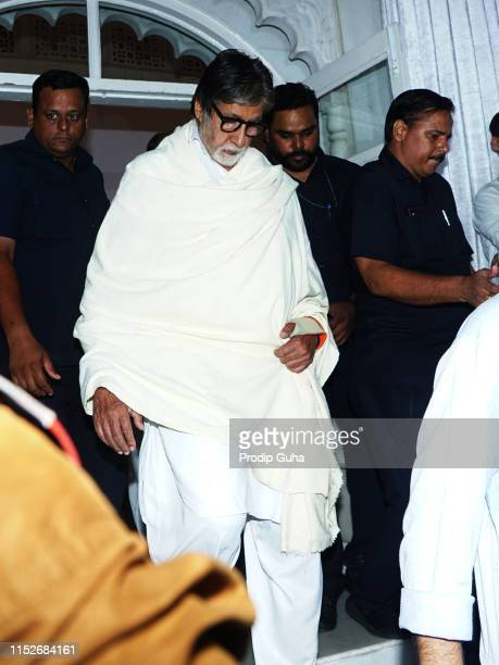Indian actor Amitabh Bachchan attends a prayer meet for the late Bollywood stunt choreographer and film director Veeru Devgan on May 30 2019 in...