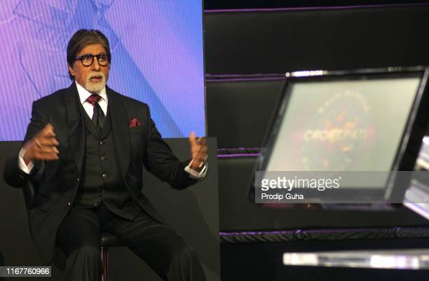 Indian actor Amitabh Bachchan attends the Kaun Banega Crorepati TV reality show press conference on August 13 2019 in Mumbai India