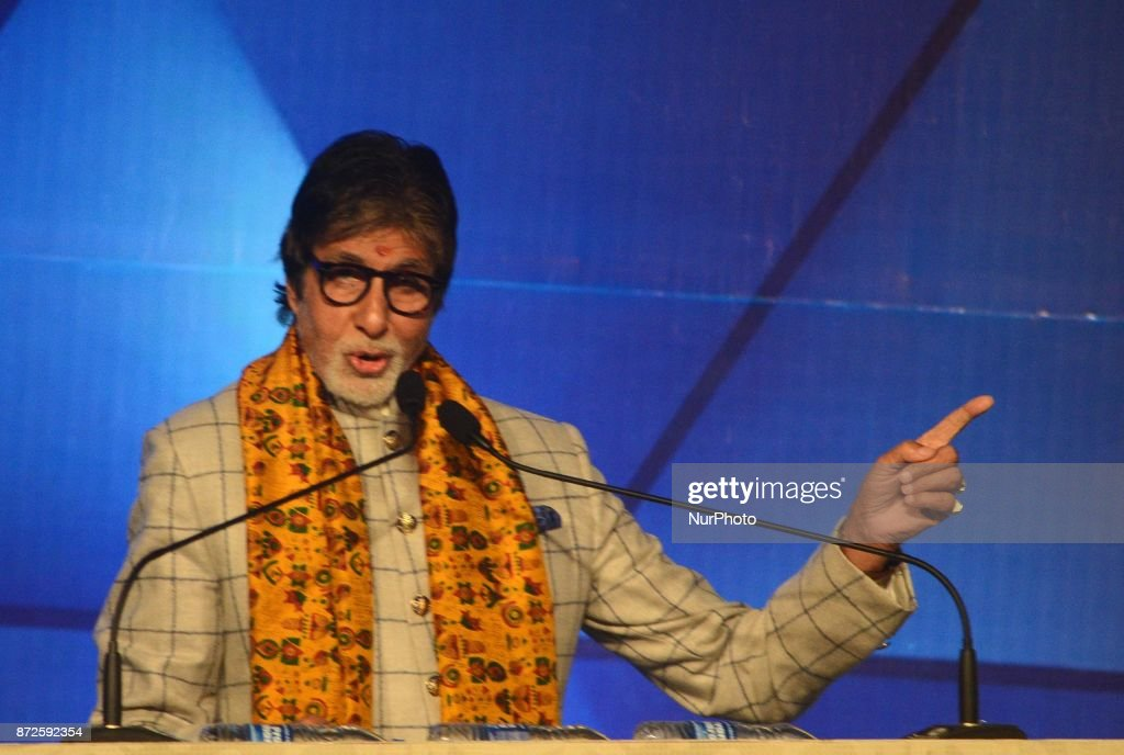Indian Actor Amitabh Bachchan deliver his speech during the inauguration ceremony of 23rd Kolkata International Film Festival in Kolkata India on...