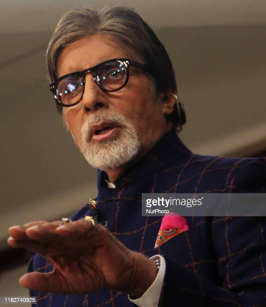 Indian actor Amitabh Bachchan gestures during a launch of NDTV Banega Swasth India season 6 in Mumbai India on 19 August 2019