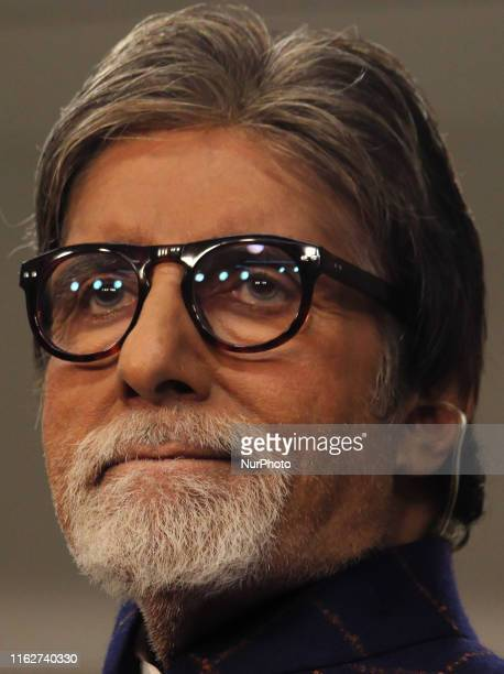 Indian actor Amitabh Bachchan looks on during a launch of NDTV Banega Swasth India season 6 in Mumbai India on 19 August 2019