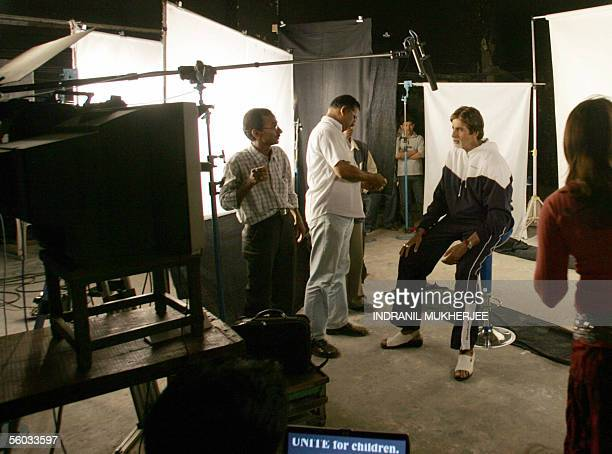 Indian actor Amitabh Bachchan prepares for an AIDS awareness message shooting for UNICEF in Mumbai 30 October 2005 Bachchan dismissive of the...