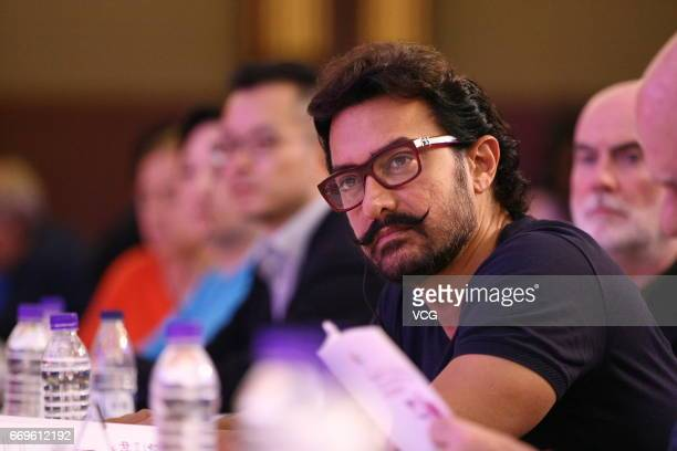 Indian actor and producer Aamir Khan attends the SinoForeign Film Coproduction Forum during 2017 Beijing International Film Festival at Beijing...