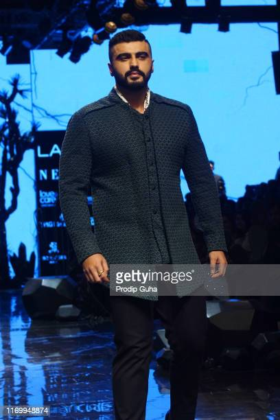 Indian actor Arjun Kapoor walks the runway wearing designer Kunal Rawal at Lakme Fashion Week winter collection 2019 at St Regis Hotel on August 23...