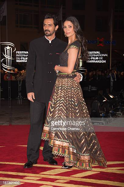 Indian actor Arjun Rampal and guest arrive for the tribute to Hindi cinema at the 12th Marrakech International Film Festival on December 1 2012 in...