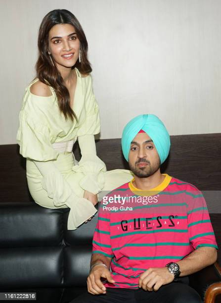 Indian actor Diljit Dosanjh and Kriti Sanon attends the media interactions for promoting the upcoming film Arjun PatialaJuly 10 2019 in Mumbai India