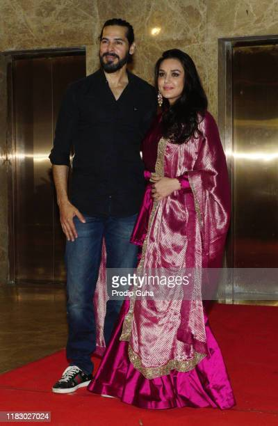 Indian actor Dino Morea and Preity Zinta attend film producer Ramesh Taurani's Diwali bash on October 23, 2019 in Mumbai, India.