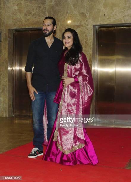Indian actor Dino Morea and Preity Zinta attend film producer Ramesh Taurani's Diwali bash on October 23 2019 in Mumbai India