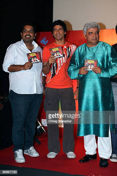 Indian actor Farhan Akhtar along with music director Shankar Mahadevan and lyricist Javed Akhtar attend the launch of the Soundtrack for 'Karthik...